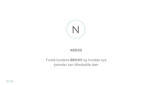 N                         NEEDS           Forstå kundens BEHOV og hvordan nye                tjenester kan tilfredsstille ...