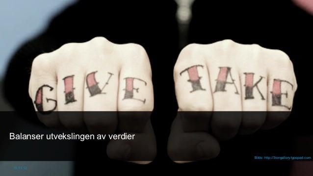 Balanser utvekslingen av verdier                                   Bilde: http://3tongallery.typepad.com 15.11.12