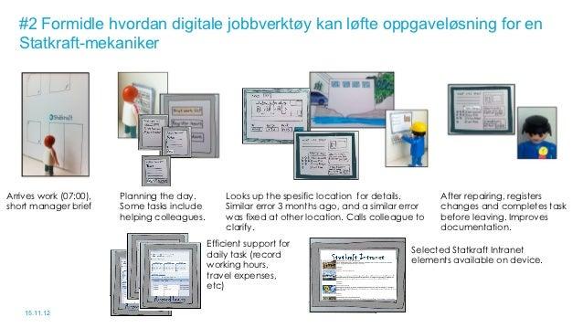 #2 Formidle hvordan digitale jobbverktøy kan løfte oppgaveløsning for en   Statkraft-mekanikerArrives work (07:00),   Plan...