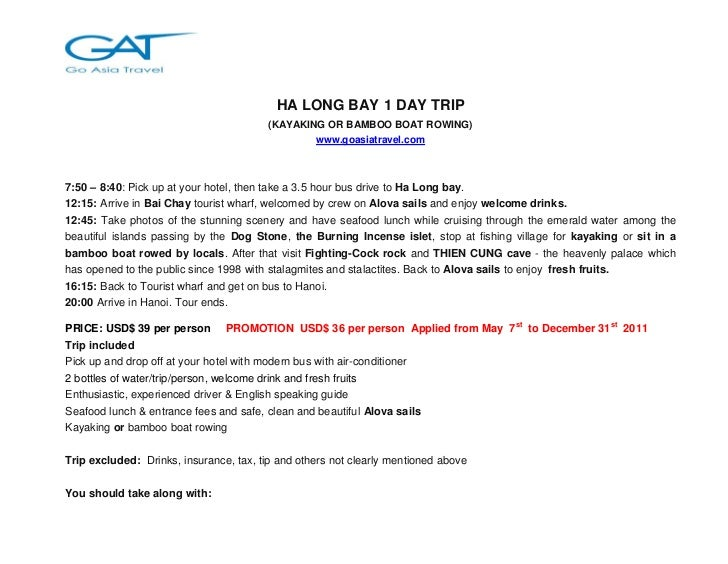 HA LONG BAY 1 DAY TRIP                                         (KAYAKING OR BAMBOO BOAT ROWING)                           ...