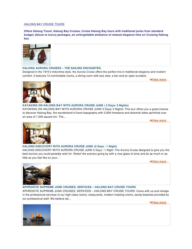 HALONG BAY CRUISE TOURS Offers Halong Travel, Halong Bay Cruises, Cruise Halong Bay tours with traditional junks from stan...
