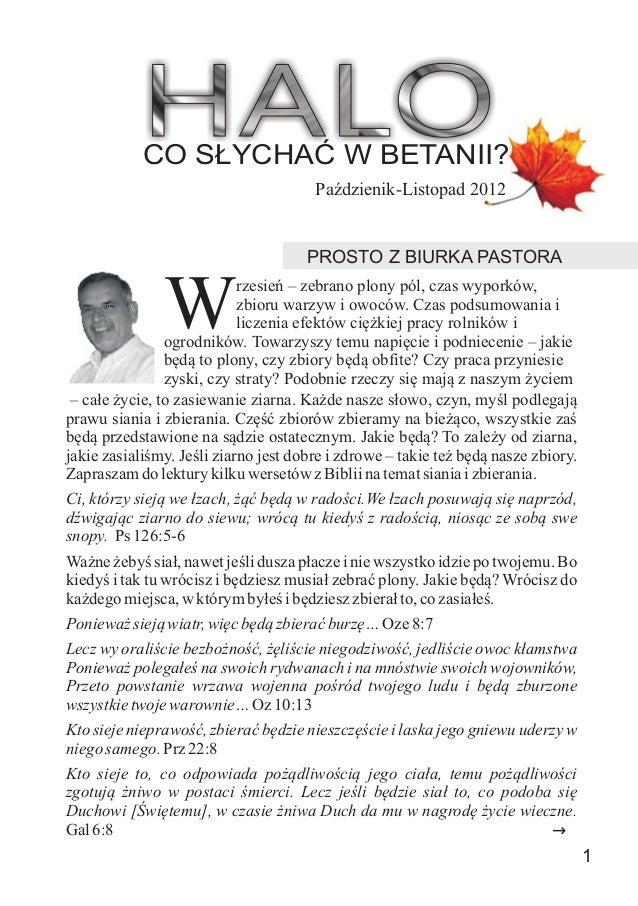 CO S£YCHAÆ W BETANII?                                       PaŸdzienik-Listopad 2012                                      ...