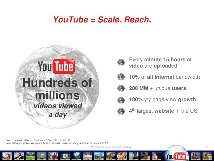 1<br />YouTube = Scale. Reach.<br /><ul><li>Every minute15 hours of video are uploaded