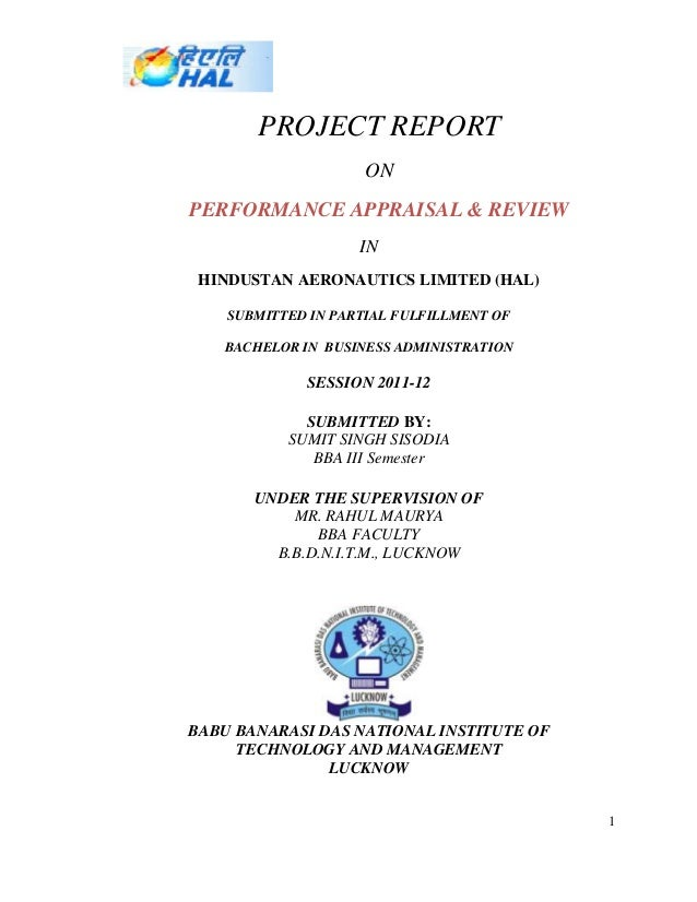 PROJECT REPORT                     ONPERFORMANCE APPRAISAL & REVIEW                    IN HINDUSTAN AERONAUTICS LIMITED (H...