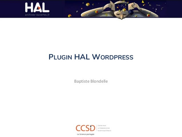 PLUGIN HAL WORDPRESS Baptiste Blondelle