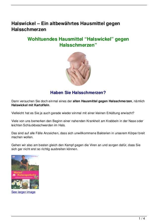 """Halswickel – Ein altbewährtes Hausmittel gegenHalsschmerzen           Wohltuendes Hausmittel """"Halswickel"""" gegen           ..."""