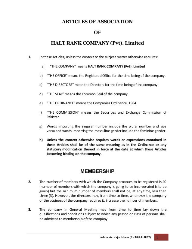ARTICLES OF ASSOCIATIONOFHALT RANK COMPANY (Pvt). Limited1. In these Articles, unless the context or the subject matter ot...