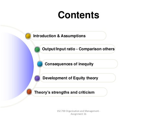 ContentsTheory's strengths and criticismDevelopment of Equity theoryConsequences of inequityOutput/Input ratio - Compariso...