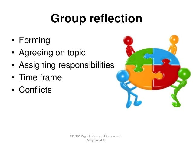 Group reflection• Forming• Agreeing on topic• Assigning responsibilities• Time frame• Conflicts152.700 Organisation and Ma...
