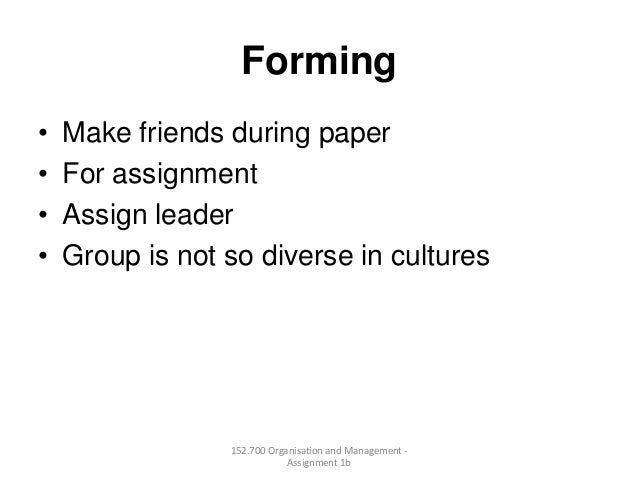 Forming• Make friends during paper• For assignment• Assign leader• Group is not so diverse in cultures152.700 Organisation...