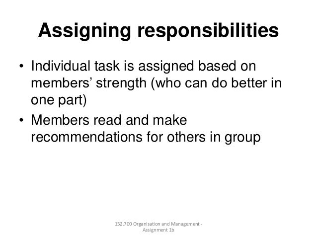 Assigning responsibilities• Individual task is assigned based onmembers' strength (who can do better inone part)• Members ...