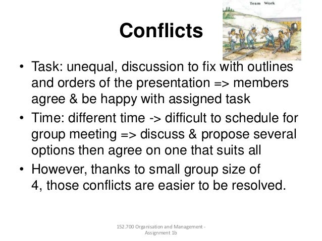 Conflicts• Task: unequal, discussion to fix with outlinesand orders of the presentation => membersagree & be happy with as...
