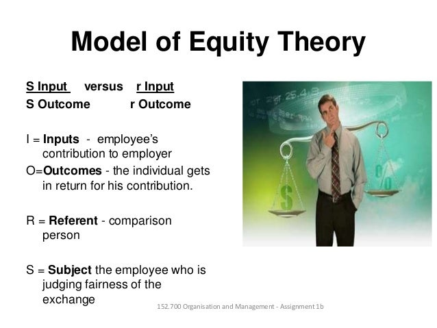 Model of Equity TheoryS Input versus r InputS Outcome r OutcomeI = Inputs - employee'scontribution to employerO=Outcomes -...