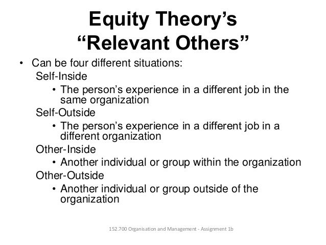 """Equity Theory's""""Relevant Others""""• Can be four different situations:Self-Inside• The person's experience in a different job..."""