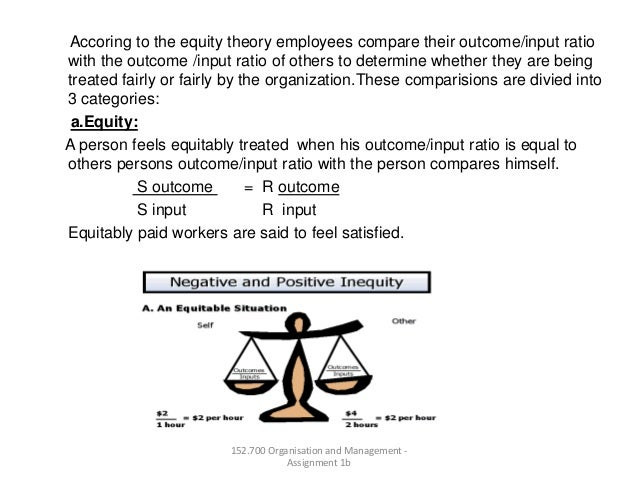 Accoring to the equity theory employees compare their outcome/input ratiowith the outcome /input ratio of others to determ...