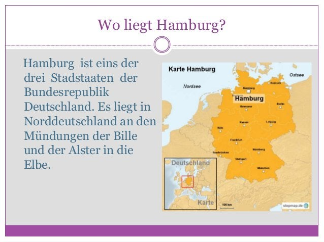 Wo liegt Hamburg? Hamburg ist eins der drei Stadstaaten der Bundesrepublik Deutschland. Es liegt in Norddeutschland an den...