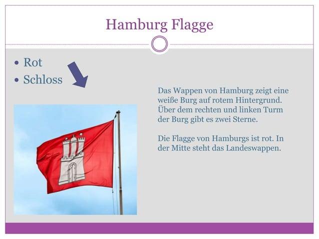 Hamburg Flagge  Rot  Schloss Das Wappen von Hamburg zeigt eine weiße Burg auf rotem Hintergrund. Über dem rechten und li...