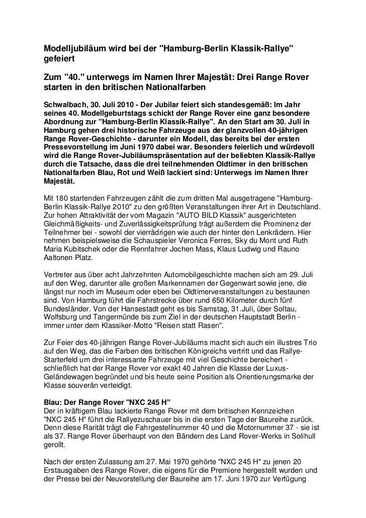 """Modelljubiläum wird bei der """"Hamburg-Berlin Klassik-Rallye""""gefeiertZum """"40."""" unterwegs im Namen Ihrer Majestät: Drei Range..."""