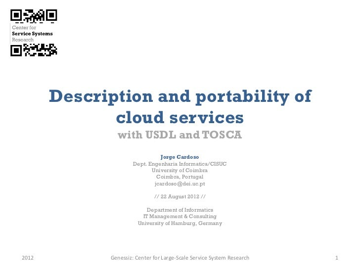 Description and portability of              cloud services                with USDL and TOSCA                             ...
