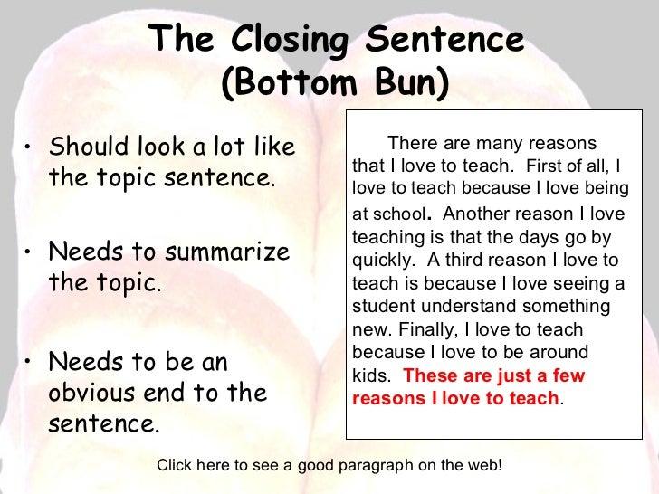 a closing sentence