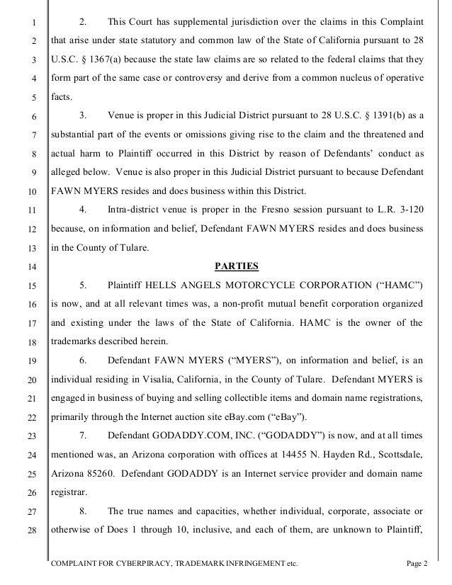 Hells Angels' Cyberpiracy, Trademark Infringement Lawsuit