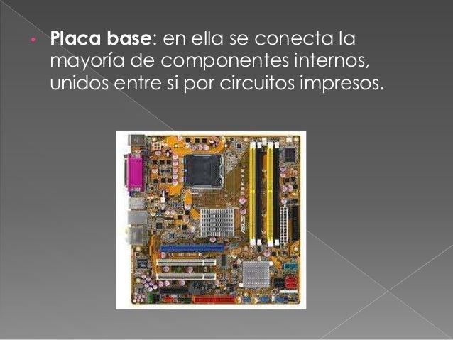 • Puertos: conectores situados en la parte posterior para comunicación externa. Son los brazos y piernas del PC.