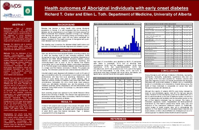 fHealth outcomes of Aboriginal individuals with early onset diabetesRichard T. Oster and Ellen L. Toth. Department of Medi...