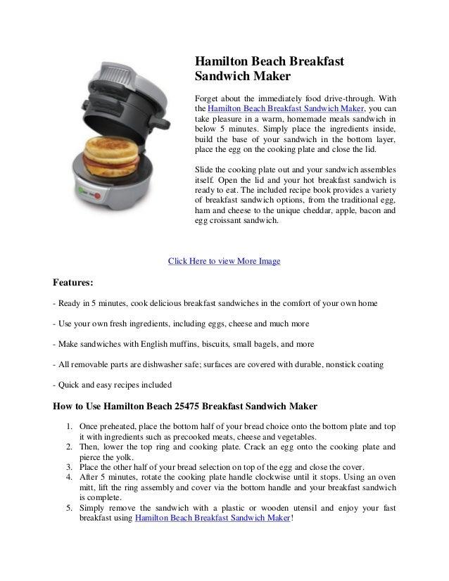 Hamilton Beach 25475 Breakfast Sandwich Maker Gray Review