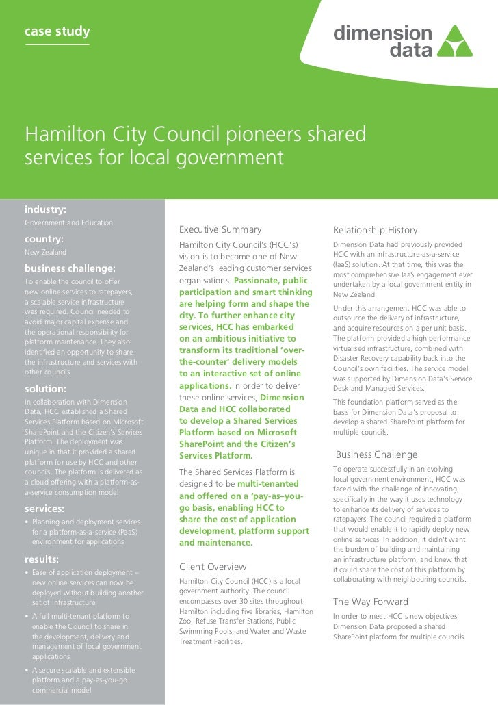 case studyHamilton City Council pioneers sharedservices for local governmentindustry:Government and Education            ...