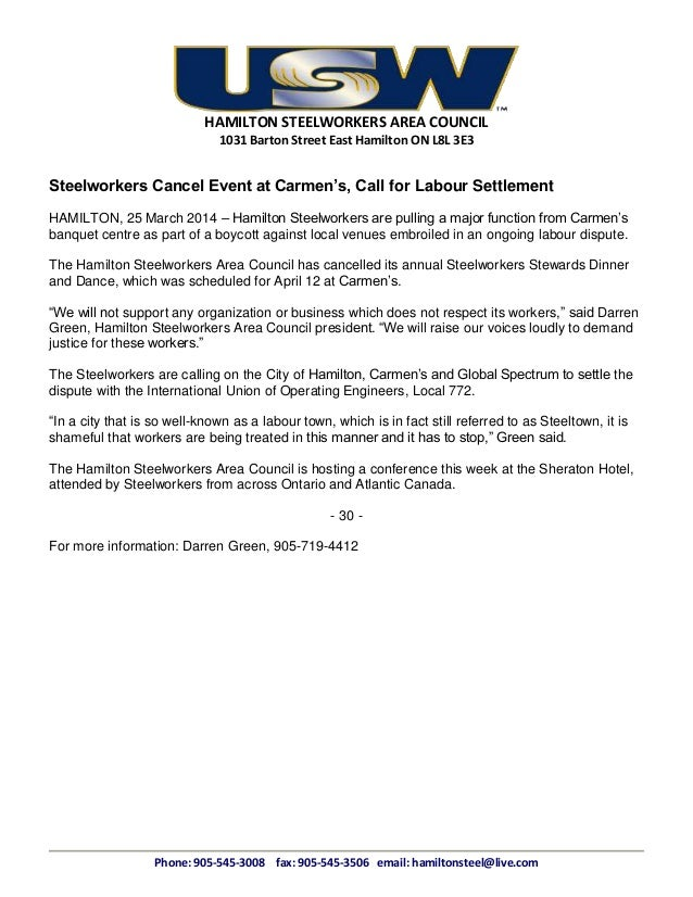 HAMILTON STEELWORKERS AREA COUNCIL 1031 Barton Street East Hamilton ON L8L 3E3 Steelworkers Cancel Event at Carmen's, Call...