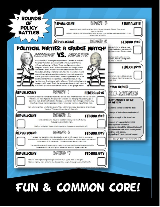 Hamilton Vs Jefferson Opposition Grudge Match