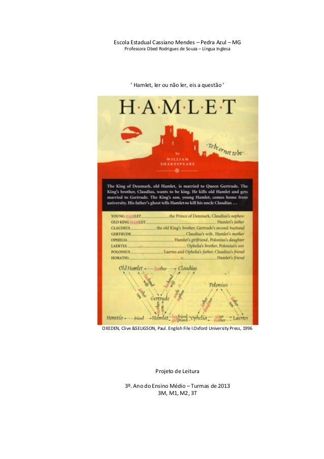 Escola Estadual Cassiano Mendes – Pedra Azul – MG Professora Obed Rodrigues de Souza – Língua Inglesa  ' Hamlet, ler ou nã...