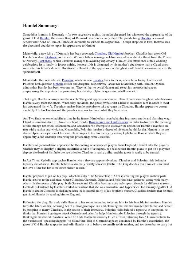 Essays short summary of hamlet