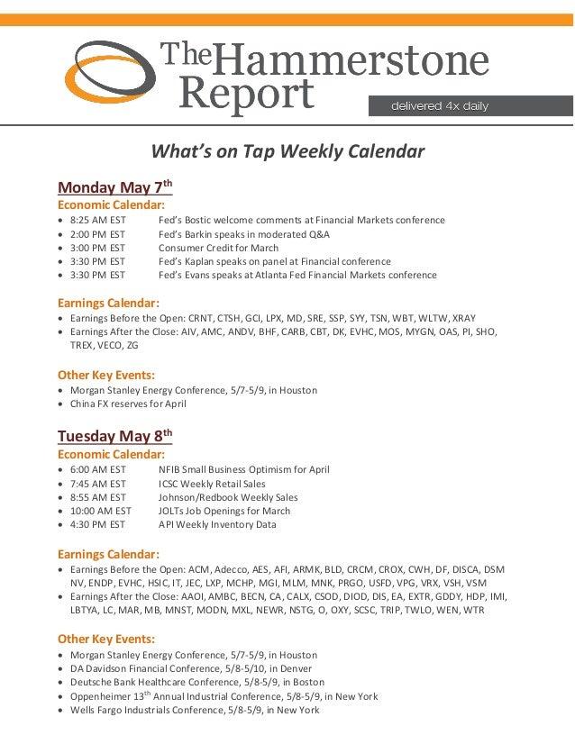 Hammerstone Calendar May 7th May 11th - 2018