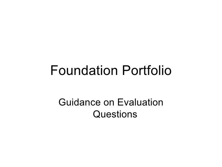 Foundation Portfolio Guidance on Evaluation Questions