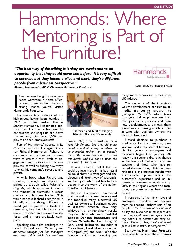 """CASE STUDY   Hammonds: Where   Mentoring is Part of   the Furniture!""""The best way of describing it is they are awakened to..."""