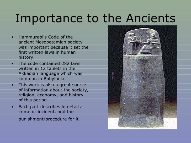 an overview of the hammurabis code of law