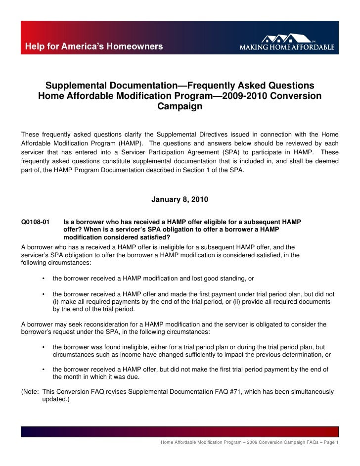 Supplemental Documentation—Frequently Asked Questions       Home Affordable Modification Program—2009-2010 Conversion     ...