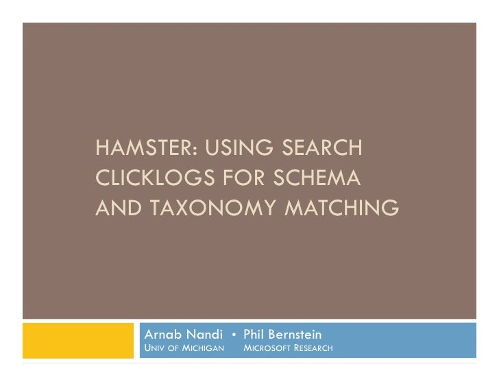 HAMSTER: Using Search Clicklogs for Schema and Taxonomy Matching <br />Arnab Nandi  Phil BernsteinUniv of Michigan     Mi...