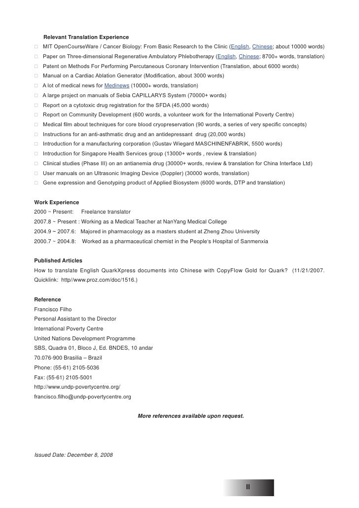 resume of translator in english
