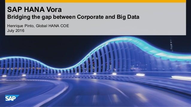 SAP HANA Vora Bridging the gap between Corporate and Big Data Henrique Pinto, Global HANA COE July 2016