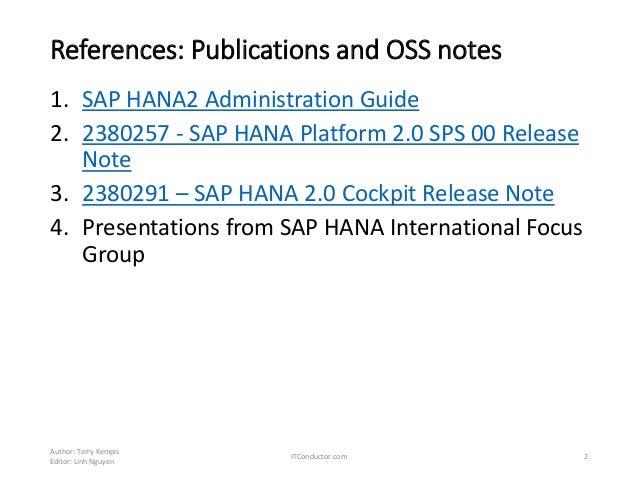 SAP HANA 2 – Upgrade and Operations Part 1 - Exploring