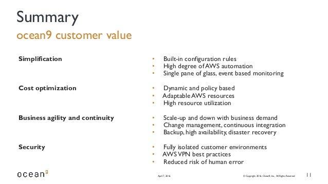 ocean9 customer value April 7, 2016 © Copyright, 2016, Ocean9, Inc., All Rights Reserved 11 Summary Simplification Cost op...