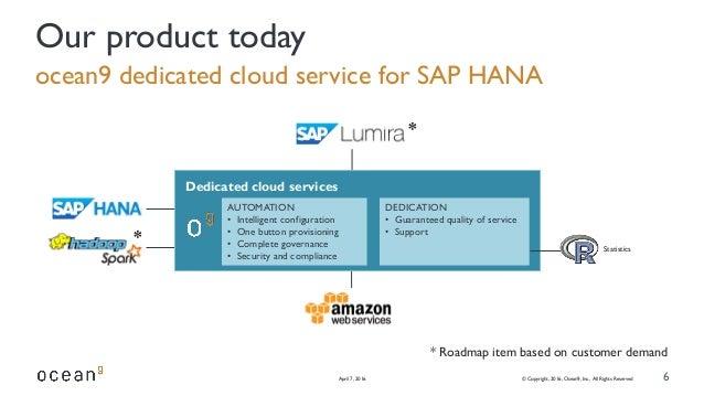 Statistics ocean9 dedicated cloud service for SAP HANA April 7, 2016 © Copyright, 2016, Ocean9, Inc., All Rights Reserved ...
