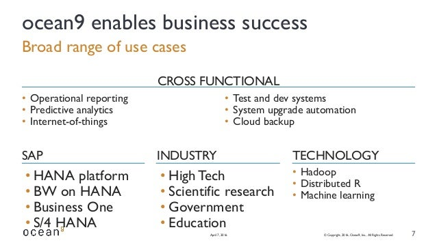 • HANA platform • BW on HANA • Business One • S/4 HANA • HighTech • Scientific research • Government • Education • Hadoop ...