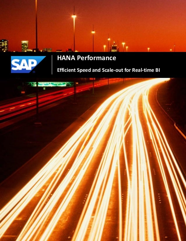 1HANA PerformanceEfficient Speed and Scale-out for Real-time BI