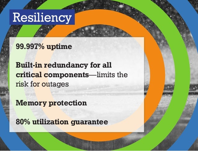 Resiliency 99.997% uptime Built-in redundancy for all critical components—limits the risk for outages Memory protection 80...