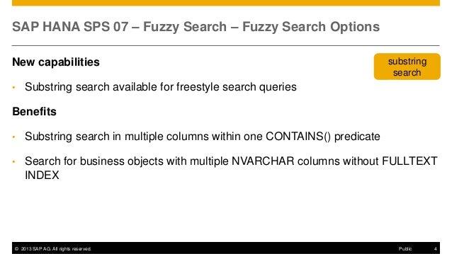 HANA SPS07 Fuzzy Search
