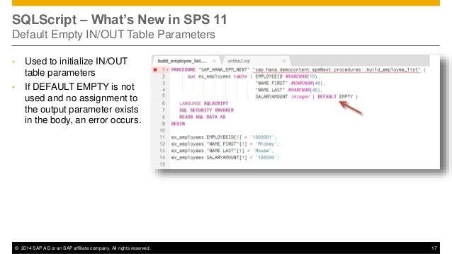 What's new in SAP HANA SPS 11 SQL/SQLScript