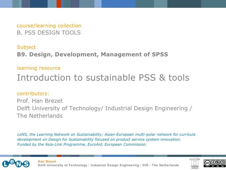 course/learning collection B. PSS DESIGN TOOLS Subject B9. Design, Development, Management of SPSS learning resource Intro...